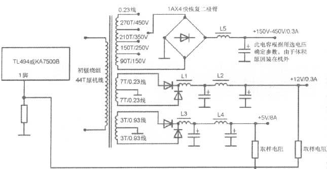 脉冲变压器工作原理利用铁心的磁饱和性能把输入的正弦波电压变成窄脉冲形输出电压的变压器。可用于燃烧器的点火、晶闸管的触发等。    脉冲变压器结构为原绕组套在断面较大的由硅钢片叠成的铁心柱上,副绕组套在坡莫合金材料制成的断面较小的易于高度饱和的铁心柱上,在两柱中间可设置磁分路。电压和磁通的关系,输入电压u1是正弦波,在左面铁心 中产 生正弦磁通Φ1。右面铁心中磁通Φ2高度饱和,是平顶波,它只有在零值附近发生变化,并立即饱和达到定值。当Φ2过零值的瞬间,在副绕组中就感应出极陡的窄脉